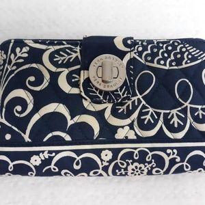 Vera Bradley Turnlock Wallet - Navy Blue Paisley